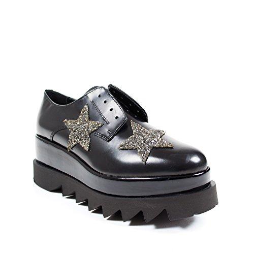 Cult 103227 scarpa donna senza stringhe in pelle nera con stelle doppia suola (39)
