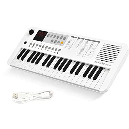 ONETONE ワントーン 電子キーボード ミニ37鍵盤 LEDディスプレイ搭載 USB-MIDI対応 日本語表記 OTK-37M/WH (USBケーブル付き)