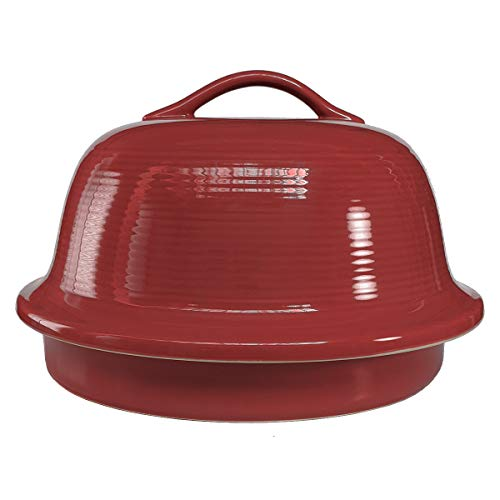 Sassafras Superstone Stoneware La Cloche Bread Baker with Red Glazed Exterior and Unglazed Interior Bakes an Artisan Bread with Crusty Crust and a Light Crumb