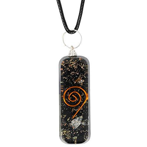 Crystal Chakra Gemstone Orgonite Necklace Pendant | EMF Protection | Energy Generator | Spiritual Healing (Black Tourmaline)