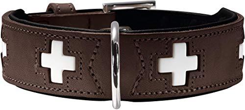 HLSX Hundehalsband, Leder, Schweizer Kreuz,Braun (braun/schwarz),60