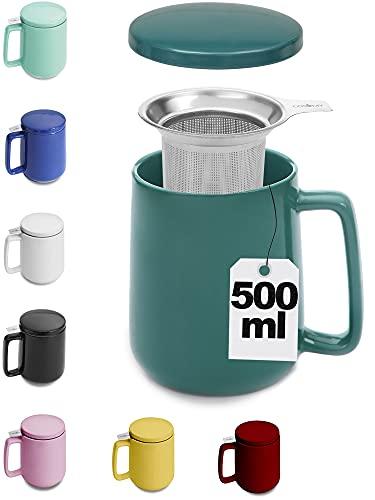 Grande Tasse à Thé avec Infuseur et Couvercle - 500 ml - Bien au chaud - bleu-vert