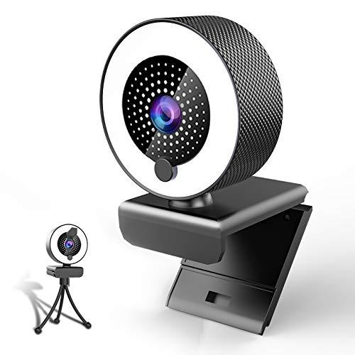 MHDYT 2K Webcam mit Mikrofon und Ringlicht HD Facecam mit Abdeckung und Stativ für PC/MAC/Laptop/Desktop, USB Web Cam Streaming für YouTube,Skype,Zoom,Xbox,Lernen, Videokonferenz und Videoanrufe