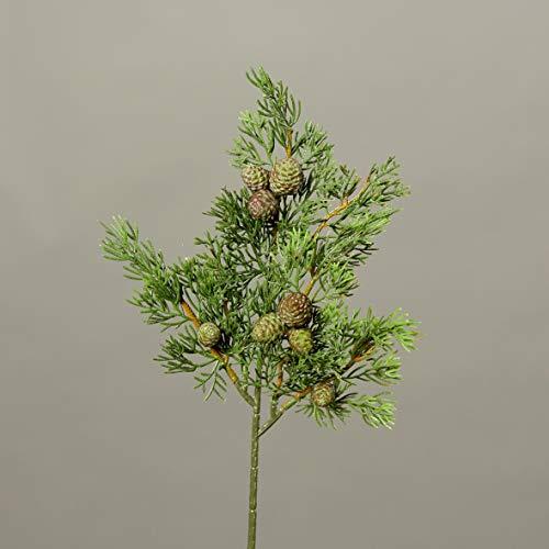 Seidenblumen Roß Zypressenzweig 40cm mit Früchten DP künstlicher Zedernzweig Tannenzweig Zeder Zypresse