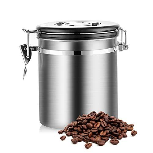 Lifemaison Kaffeedose Luftdicht Kaffeebehälter aus Edelstahl mit Deckel mit Datumsverfolgung Aromadose Vorratsdose Vakuum Dose für Kaffeebohnen, Pulver, Tee, Nüsse, Kakao (Ohne Messlöffel, 1500ml)