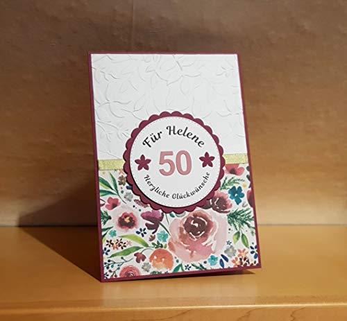 XL (DIN A5) Geburtstagskarte, Glückwunschkarte, Karte zum Geburtstag, Name u. Zahl personalisierbar, Handarbeit