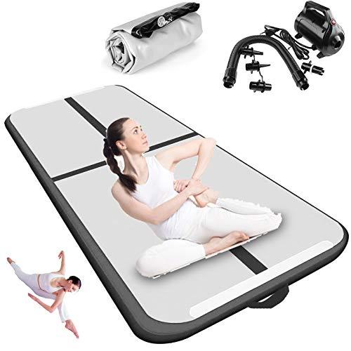 Esterilla de gimnasia hinchable – Esterilla de gimnasia con bomba de aire eléctrica y bolsa de transporte para casa, taekwondo, exterior, yoga, gimnasio (100 x 60 x 10 cm)