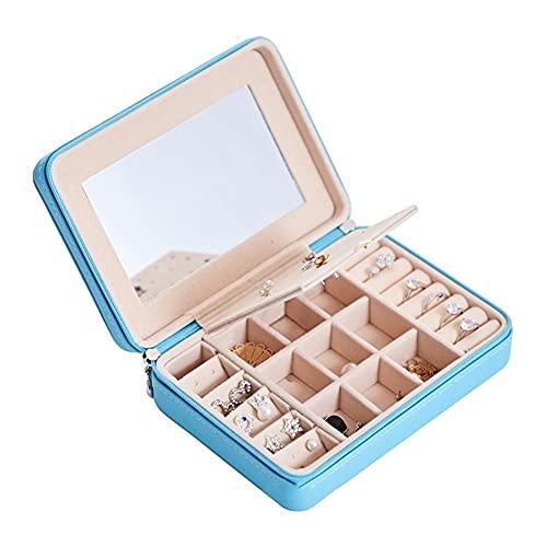 LYLY PU Caja de joyería de Cuero Organizador de joyería de Gran Capacidad con Caja de Almacenamiento de Joyas de Espejo para Mujeres niñas (Color : Sky Blue)