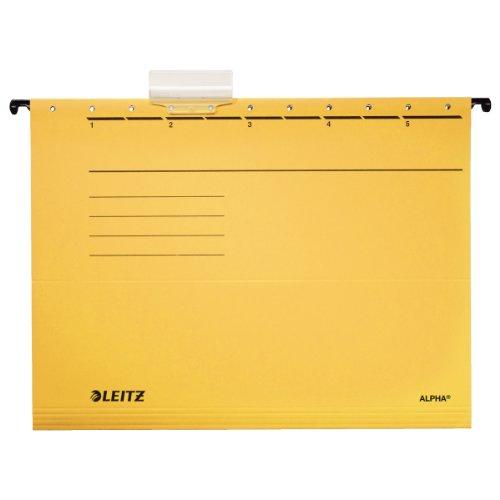 Leitz 19853015 Hängemappe Alpha , Colorspankarton, 5 Stück, gelb