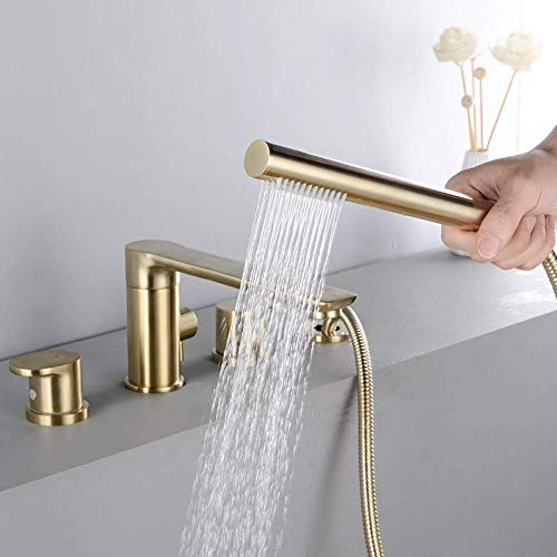 Kitchen Taps Taps Gold Brushed Copper Bathtub Split Type 4-hole Faucet Set Hot And Cold Water Conditioning Bathroom Hand Shower