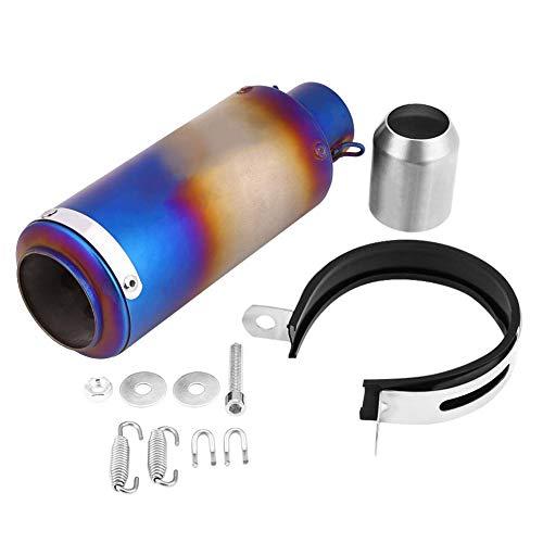 Qiilu Silenziatore di scarico, silenziatore di scarico moto universale in acciaio inossidabile nero Punta del tubo di scappamento(Semiblue)