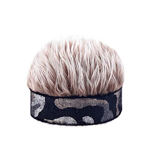 Novelty Flair Hair Visor Sun Cap Party Wig Peaked Beanie Hat Headband with Spiked Hair Brown, Medium