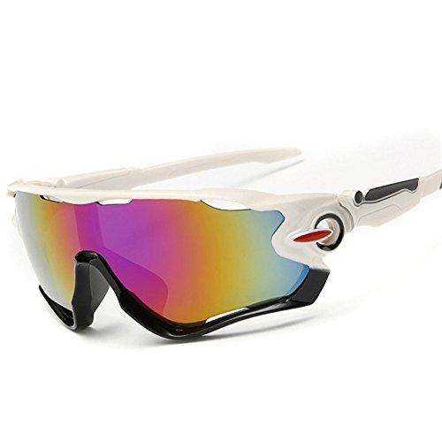 KRY UV400Occhiali da sole sportivi da uomo, infrangibili, montatura in metallo, ideali per guida, golf e pesca, Uomo, White / Black, 145mm * 50mm * 122mm