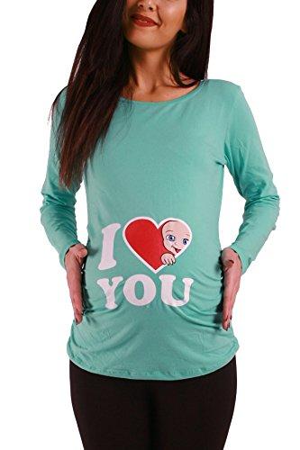Love - Lustige witzige süße Umstandsmode Umstandsshirt Schwangerschaftsshirt Sweatshirt mit Motiv für die Schwangerschaft, Langarm (Mint, Medium)