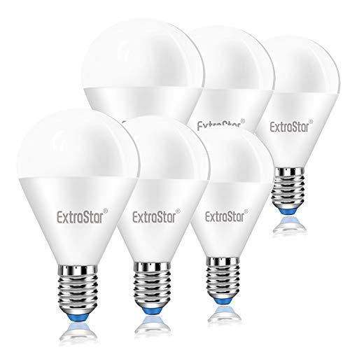 EXTRASTAR Lampadina LED E14,8W Equivalenti a 64W,6500K,luce bianca fredda,Confezione da 6