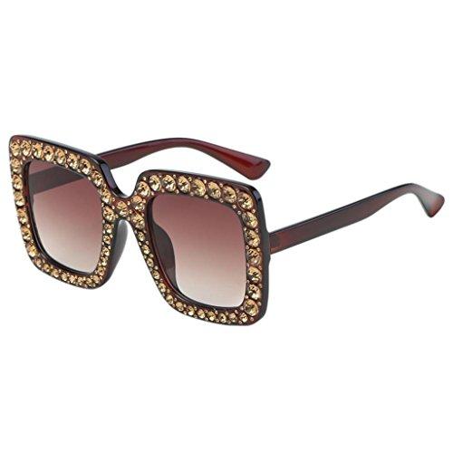 Gafas de Sol Mujer, Xinantime Marco de Metal de oreja de gato de diamante Artificial de moda para mujer Gafas de sol de marca clásica (A)