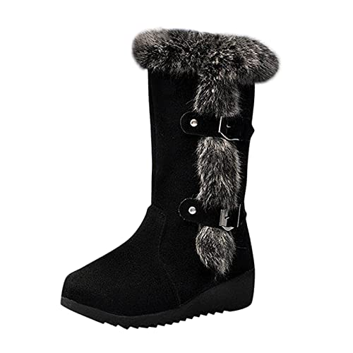 ZYAPCNGN Womens Snow Mid Calf Boots Winter Warm Shoes Boots Plush Boots for Women Waterproof Fleece Shoes