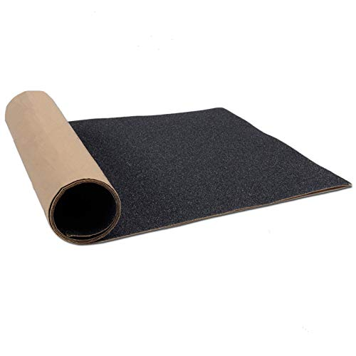 "11"" x 44"" Skateboard Grip Tape Sheet, ZUEXT Bubble Free Waterproof Black Scooter Grip Tape, Longboard Griptape, Sandpaper for Rollerboard, Stairs, Gun, Pedal, Pistol, Wheelchair, Steps (110x27cm)"