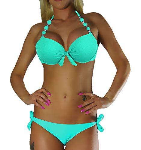 ALZORA Neckholder Damen Bikini Push Up Set Top und Hose Auswahl Farben, 10345 (XS, Z-2)