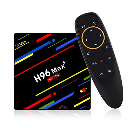 H96 max Plus, Android 9.0 OS TV box, 4 GB RAM 64 GB ROM, RK3328 Quad Core CPU, Dual WiFi/LAN/Bluetooth + telecomando vocale 4G 64G