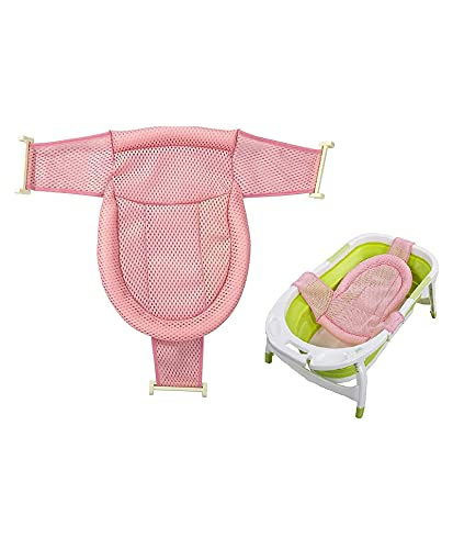 INFANTSO Anti-Slip Newborn Baby Bath Seat Support Safety Net for Tub,Soft & Adjustable (Bath Net Pink)