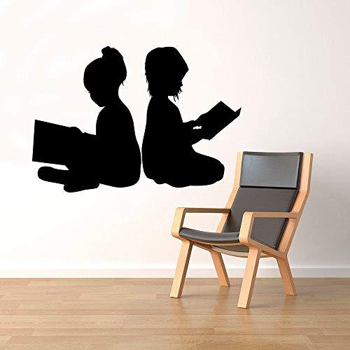 HGFDHG Pegatinas de Pared de Lectura para niños Libro Biblioteca Escolar educación Sala de Lectura decoración de Interiores Puertas Ventanas Vinilo Sala de Estudio Mural