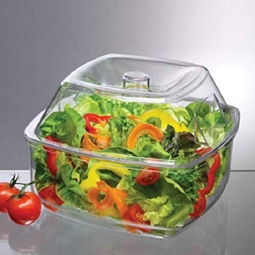 "Prodyne Flip Salad On Ice Bowl with Lid Set, 10"", Clear"