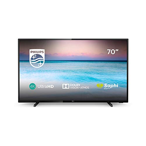 Philips 70PUS6504/12 70-Inch 4K UHD Smart TV with HDR 10+, Dolby Vision, Dolby Atmos, Smart TV - Black (2019/2020 Model)