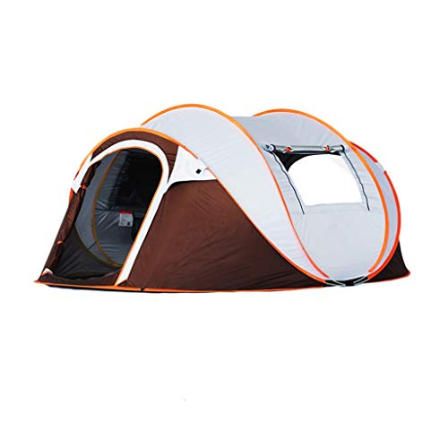 LMJ Automatic Pop Up Camping Tent 5-8 Person with 2 Door&2 Mesh Windows Waterproof Instant Tent for Family Hiking (Color : Orange)