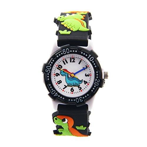 El Reloj de Niños de Vinmori, Reloj de Cuarzo con Dibujos Animados Bonitos de 3D a Prueba de Agua Regalo para Chicos Niños y Niñas A-Dinosaurio Negro