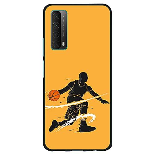 Funda Negra para [ Huawei P Smart 2021 / Y7A ], Carcasa de Silicona Flexible TPU, diseño : Jugador de Baloncesto regate
