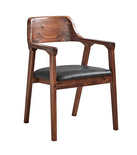 SAM Esszimmerstuhl Angel, Akazienholz nussbaumfarben, Sitz aus schwarzem Kunstleder, Holzstuhl mit Armlehnen, Massivholz-Sessel