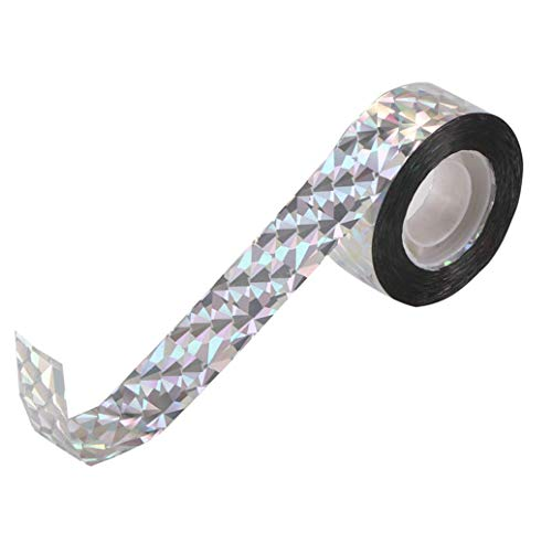 Flach Tape, Bird Scare Tape Cinta disuasiva para pájaros, espirales reflectantes, a doble cara, cinta espantapájaros, 80m * 2.4cm