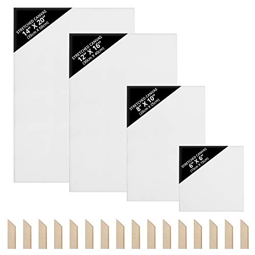 Belle Vous Set Lienzo Blanco (4 Tamaños) – 15 x 15 cm, 20 x 25 cm, 30 x 40 cm, 35 x 50 cm - Lienzos en Blanco Preestirados con Cuñas - Lienzos Óleo y Acrílico - Lienzos para Pintar