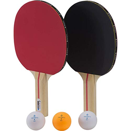 TECNOPRO Tischtennis-Schläger-Set Match Dx, Schwarz/Rot, One Size