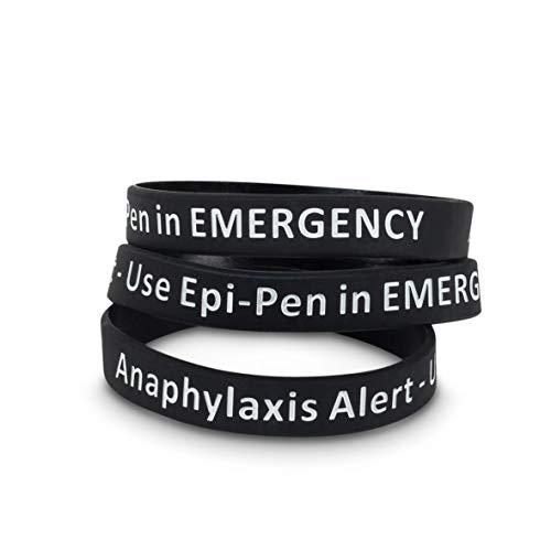 BAIYI 4 Pack Anaphylaxis Alert Bracelet Emergency Use Epi Pen Silicone Medical