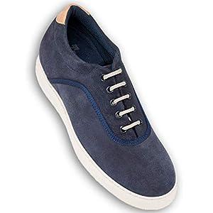Masaltos Zapatos con Alzas para Hombre. Aumentan Altura hasta 7 cm. Fabricados EN Piel. Modelo Brooklyn (42, Azul)