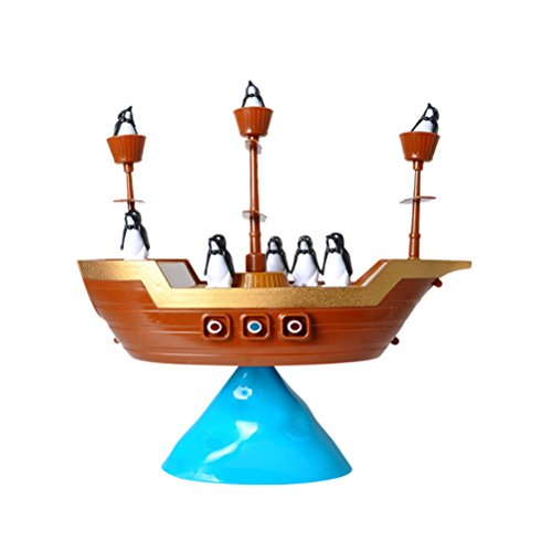 TOYMYTOY Barco pirata con pingüino, pirata, balance y juego, juguete educativo para niños pequeños, regalo
