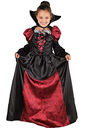 Magicoo Lady Vampirin Vampir Kostüm Kinder Mädchen mit Kragen - schickes Halloween Vampirkostüm Kind Gr. 110 bis 140 (146/152)