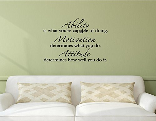 Vinyl Quote Me Ability is What You're Capable of Doing, Motivation Determines What You do. Attitude Determines How Well You do it. Vinyl Wall Saying Quote Words Decal