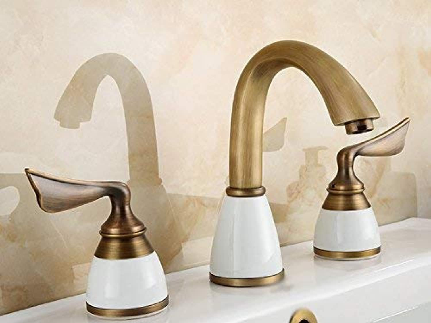Oudan Copper European Style Retro Styleand Hot and Cold Sink Three-Hole Sink Taps