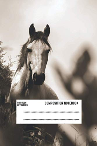 Composition Notebook:Wihte Horse: Wide Ruled Paper Notebook Journal   Cute Turquoise Horse Wide Blank Lined Workbook For Horse Lovers..