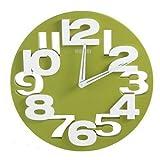 GMMH 3 D 8808 - Orologio Design da Parete per Cucina Bagno Ufficio Decorazione Silenzioso Verde Bianco