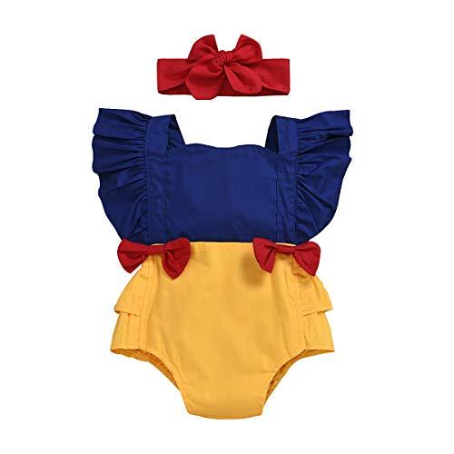 WangsCanis Pelele para bebé de 0 a 24 meses, con mangas cortas, con volantes, cuello cuadrado, estampado floral, 2 unidades con cinta para el pelo Azul + amarillo. 0-6 meses