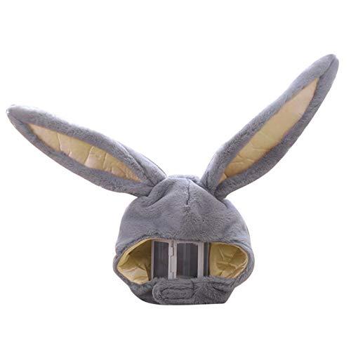 Chejarity Süße Plüsch-Kaninchenmütze Winterschal Kaninchen Hut Kappe Ohren Winter Skimütze Vollkopfbedeckung Neuheit Party Dress Up Cosplay Kostüm (Grau, 55 * 27cm)
