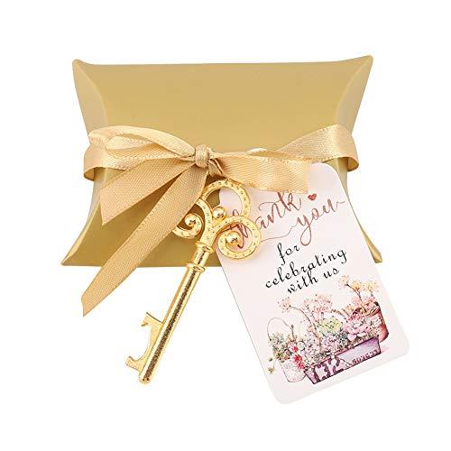 Abrebotellas multifuncional para el hogar, pequeños regalos de boda, decoración para festivales de boda, adecuado para compañeros de clase, amigos, familia (oro)