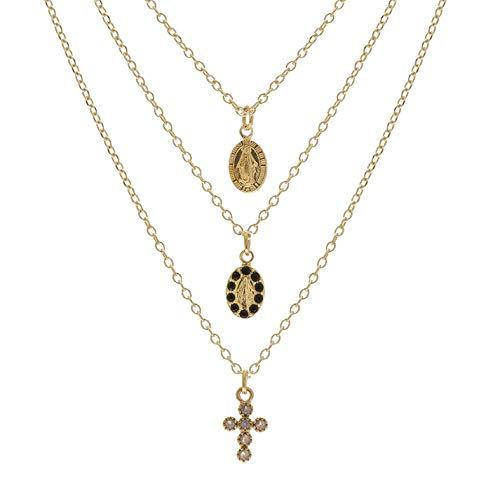 By Garance - Collar de 3 filas virgen y cruz, color dorado