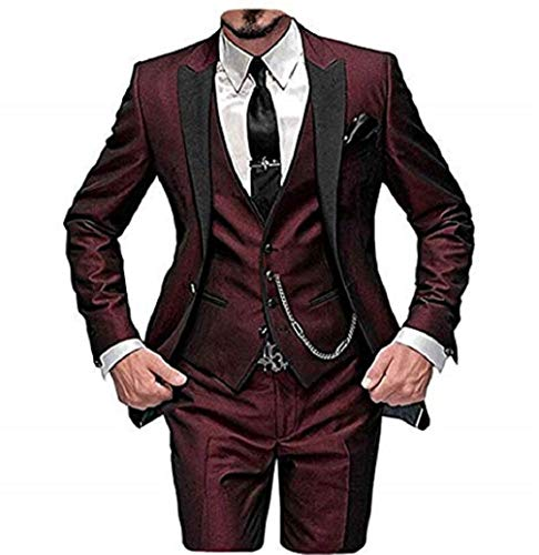 DREFEEL One Button 3 Pieces Burgundy Wedding Suits Notch Lapel Mens Suits Groom Tuxedos