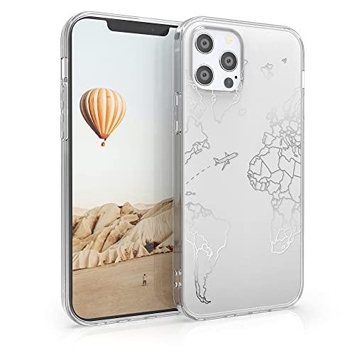 kwmobile Cover Compatibile con Apple iPhone 12/12 PRO - Back Case Custodia Posteriore in Silicone TPU Cover per Smartphone - Back Cover Travel & Explore Argento/Trasparente