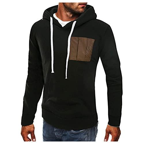 Chejarity Herren Vintage Pullover Hoodie mit Brusttasche Männer Retro Einfarbig Slim Fit Sweatshirt Kapuzenpullover Sport und Freizeit Hoodie Sweatshirt Sweatjacke Outwear